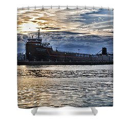 Shower Curtain featuring the photograph Steamship William G. Mather - 1 by Mark Madere