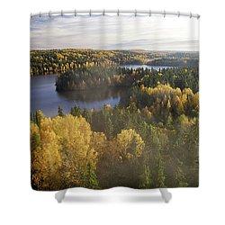Steamy Forest Shower Curtain by Teemu Tretjakov