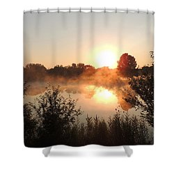 Steamy Morning Shower Curtain by Teresa Schomig