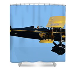Stearman 4e Junior Speedmail Nc663k Chino California April 29 2016 Shower Curtain by Brian Lockett