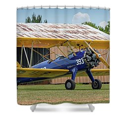 Stearman And Old Hangar Shower Curtain