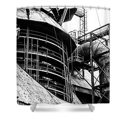 Steel Mill In Black And White - Bethlehem Shower Curtain by Bill Cannon
