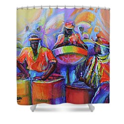 Steel Pan Carnival Shower Curtain by Cynthia McLean