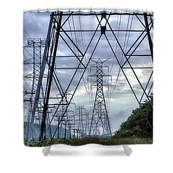 Shower Curtain featuring the photograph Steel Soldiers Marching To The Sea by Brian Wallace