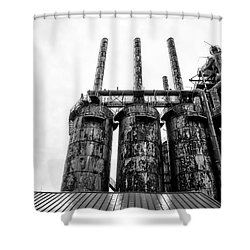 Steel Stacks - The Bethehem Steel Mill In Black And White Shower Curtain by Bill Cannon