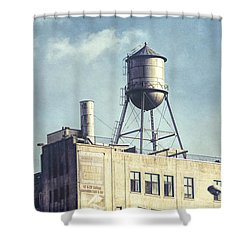 Shower Curtain featuring the photograph Steel Water Tower, Brooklyn New York by Gary Heller