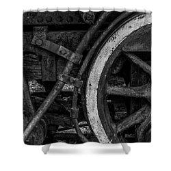 Steel Wheels In Monochrome Shower Curtain