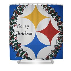 Steelers Christmas Card Shower Curtain by Jeffrey Koss