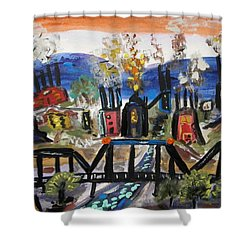 Shower Curtain featuring the painting Steeltown U.s.a. by Mary Carol Williams