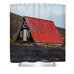 Steep Roof Barn Western Iceland Shower Curtain