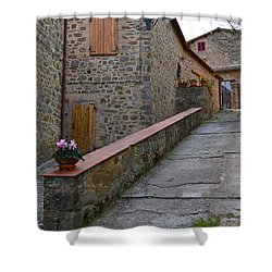 Steep Street In Montalcino Italy Shower Curtain