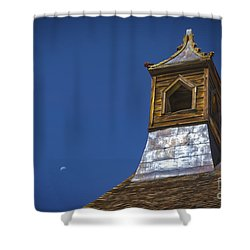 Shower Curtain featuring the photograph Steeple And Moon by Mitch Shindelbower