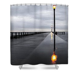 Shower Curtain featuring the photograph Steeplechase Pier by Mitch Cat