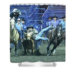 Steer Roping At The Grand National Rodeo Shower Curtain