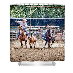 Shower Curtain featuring the photograph Steer Wrestling With An Audience by Darcy Michaelchuk