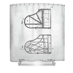 Steinway Grand Piano Patent Shower Curtain by Taylan Apukovska