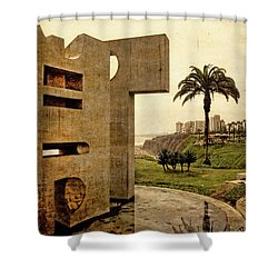 Shower Curtain featuring the photograph Stelae In The Park - Miraflores Peru by Mary Machare