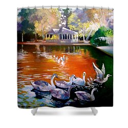 Shower Curtain featuring the painting Stephens Green Dublin Ireland by Paul Weerasekera