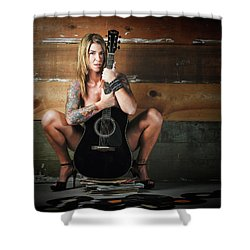 Stephanie W/guitar Shower Curtain