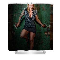 Stephanie Green Door Shower Curtain