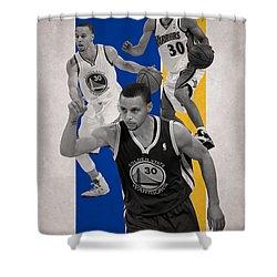Stephen Curry Golden State Warriors Shower Curtain by Joe Hamilton