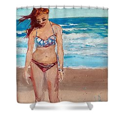 Stephie On The Beach Shower Curtain by Jim Phillips
