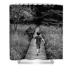 Shower Curtain featuring the photograph Stepping Into Adventure - D009927-bw by Daniel Dempster