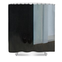 Shower Curtain featuring the painting Stepping Into The Light? by Tone Aanderaa