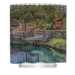 Shower Curtain featuring the photograph Steps Leading To The Blue Hole by Sue Smith