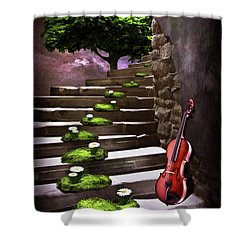 Steps Of Happiness Shower Curtain by Mihaela Pater