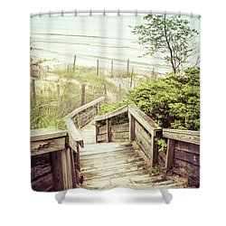 Shower Curtain featuring the photograph Steps To Lake Michigan by Joel Witmeyer