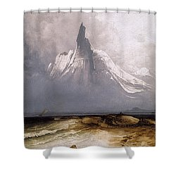 Shower Curtain featuring the painting Stetind In Fog by Peder Balke