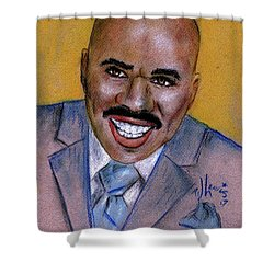Shower Curtain featuring the drawing Steve Harvey by P J Lewis