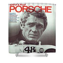 Steve Mcqueen Drives Porsche Shower Curtain