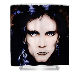Shower Curtain featuring the painting Steve Vai by Curtiss Shaffer
