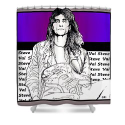Shower Curtain featuring the mixed media Steve Vai Sitting by Curtiss Shaffer