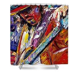 Stevie Ray Vaughan Number One Shower Curtain by Debra Hurd