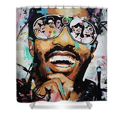 Stevie Wonder Portrait Shower Curtain