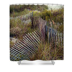 Shower Curtain featuring the photograph Stick Fence Ocean by Linda Olsen