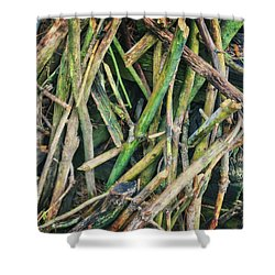 Stick Pile At Retzer Nature Center Shower Curtain by Jennifer Rondinelli Reilly - Fine Art Photography