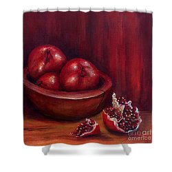 Shower Curtain featuring the painting Still Life #4-pomegranates by Thomas Lupari
