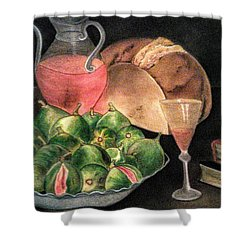 Still Life Of Figs, Wine, Bread And Books Shower Curtain
