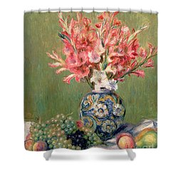 Still Life Of Fruits And Flowers Shower Curtain by Pierre Auguste Renoir