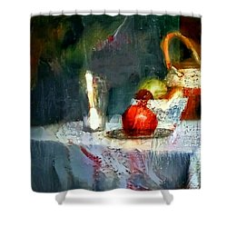 Still Life Oil Painting Table With Pomegranate Ceramic Kettle Glass Knife And Bowl Of Fruit Pears Linen Sketch Painting Life Drawing Shower Curtain by MendyZ