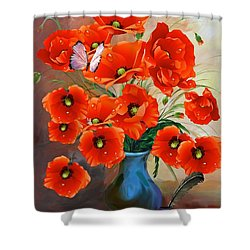 Still Life Poppies Shower Curtain