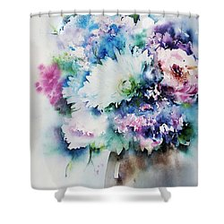 Still Life Rose Bouquet Watercolour Shower Curtain