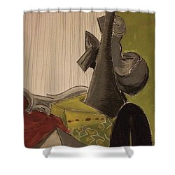 Shower Curtain featuring the pastel Still Life With A Black Horse- Cubism by Manuela Constantin