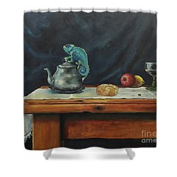 Still Life With A Chameleon Shower Curtain