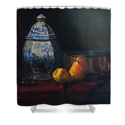 Shower Curtain featuring the painting Still Life With Antique Dutch Vase by Barry Williamson