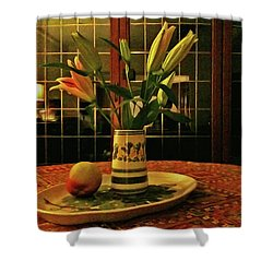 Shower Curtain featuring the photograph Still Life With Apple by Anne Kotan